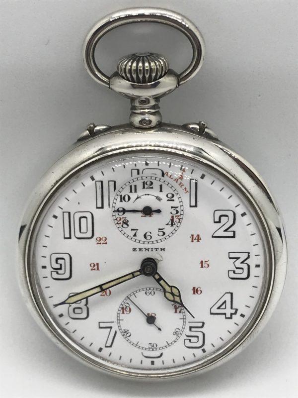 Starožitné 2 plášťové stříbrné hodinky Zenith s budíkem  8b29a314f1